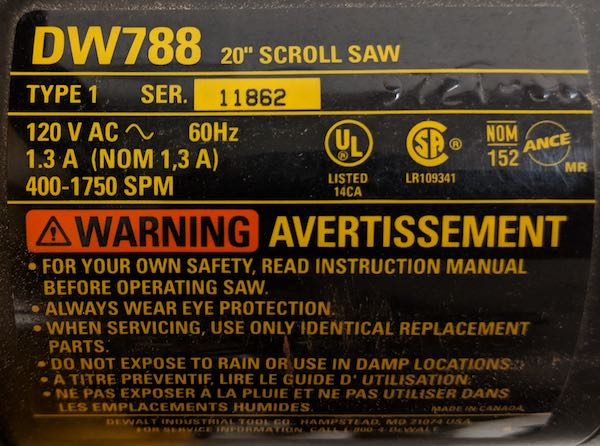 File:DeWalt DW788 Scroll Saw SN.jpg